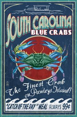 Pawleys Island, South Carolina - Blue Crabs by Lantern Press