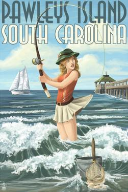 Pawleys Island, South Carolina - Surf Fishing Pinup Girl by Lantern Press