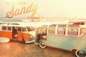 Peace, Love, and Sandy Feets on Beach by Lantern Press