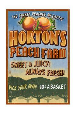 Peach Farm - Vintage Sign by Lantern Press