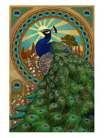 Peacock - Art Nouveau by Lantern Press