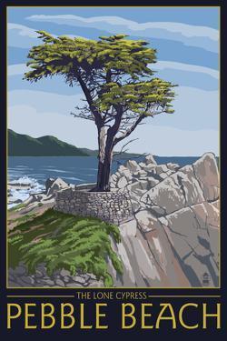 Pebble Beach, California - Lone Cypress Tree by Lantern Press