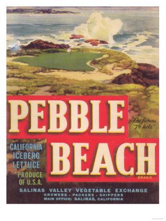Pebble Beach Lettuce Label - Salinas, CA by Lantern Press