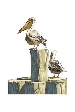 Pelican and Pilings - Icon by Lantern Press
