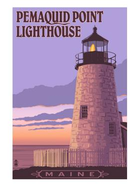 Pemaquid Lighthouse Sunset - Maine by Lantern Press