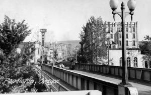 Pendleton, Oregon - United Artists Theatre from Bridge by Lantern Press