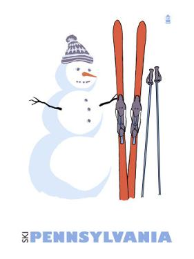 Pennsylvania, Snowman with Skis by Lantern Press