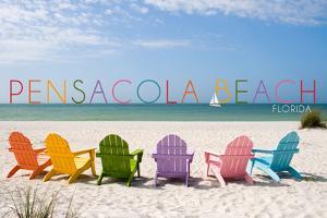 Pensacola Beach, Florida - Colorful Beach Chairs by Lantern Press