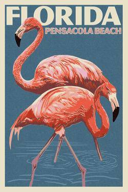 Pensacola Beach, Florida - Flamingo - Letterpress by Lantern Press