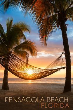 Pensacola Beach, Florida - Hammock and Sunset by Lantern Press