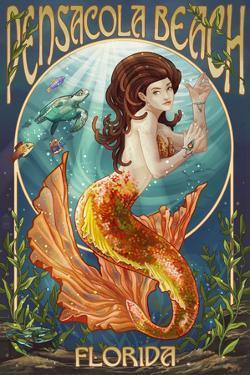 Pensacola Beach, Florida - Mermaid by Lantern Press