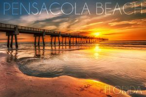 Pensacola Beach, Florida - Pier and Sunset by Lantern Press
