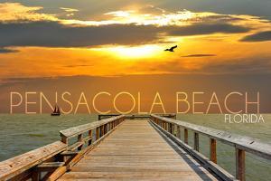 Pensacola Beach, Florida - Pier at Sunset by Lantern Press