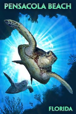 Pensacola Beach, Florida - Sea Turtle Diving by Lantern Press