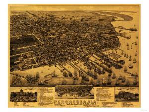 Pensacola, Florida - Panoramic Map by Lantern Press