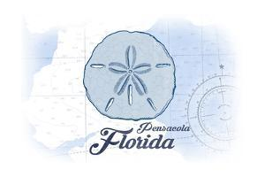 Pensacola, Florida - Sand Dollar - Blue - Coastal Icon by Lantern Press