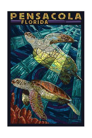 Pensacola, Florida - Sea Turtle Paper Mosaic by Lantern Press