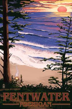 Pentwater, Michigan - Sunset on Beach by Lantern Press