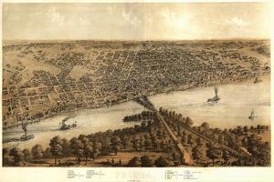 Peoria, Illinois - Panoramic Map by Lantern Press