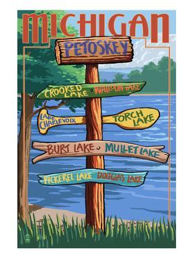 Petoskey, Michigan - Sign Destinations by Lantern Press