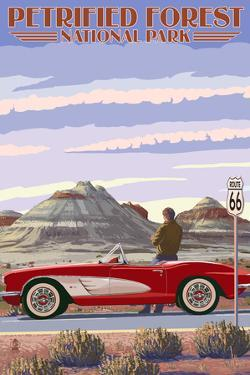 Petrified Forest National Park, Arizona - Route 66 - Corvette by Lantern Press