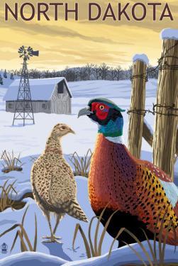 Pheasants - North Dakota by Lantern Press