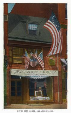 Philadelphia, Pennsylvania - Betsy Ross House with US Flags by Lantern Press