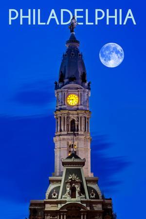 Philadelphia, Pennsylvania - City Hall and Full Moon by Lantern Press