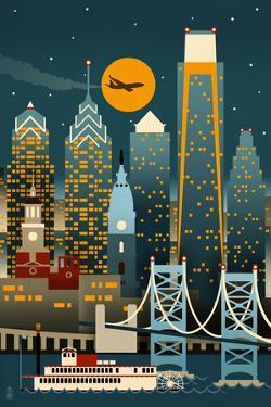 Philadelphia, Pennsylvania - Retro Skyline (no text) by Lantern Press