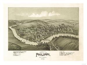 Philippi, West Virginia - Panoramic Map by Lantern Press