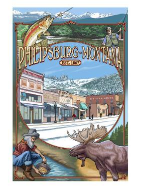 Philipsburg, Montana Montage by Lantern Press