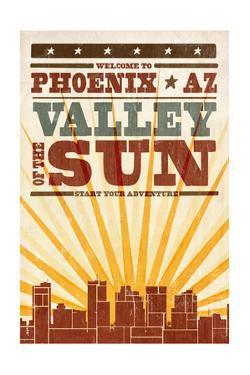 Phoenix, Arizona - Skyline and Sunburst Screenprint Style by Lantern Press