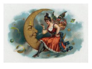 Picant Brand Cigar Box Label, Fairy Woman Smoking on the Moon by Lantern Press