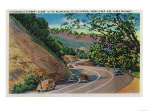 Picturesque Los Gatos Highway near Santa Cruz - Santa Cruz, CA by Lantern Press