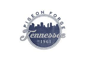 Pigeon Forge, Tennessee - Skyline Seal (Blue) by Lantern Press