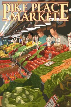 Pike Place Market Produce - Seattle, WA by Lantern Press