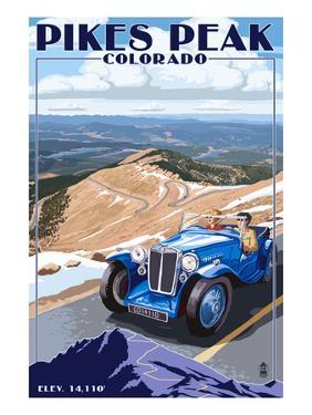 Pikes Peak, Colorado - Auto Road Scene by Lantern Press