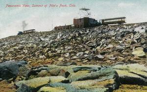 Pikes Peak, Colorado - Panoramic View of Cog Rail Train Ascending by Lantern Press