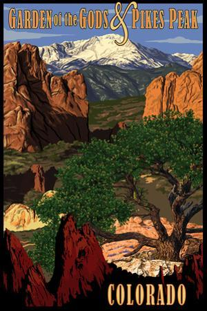 Pikes Peak from Garden of the Gods, Colorado by Lantern Press