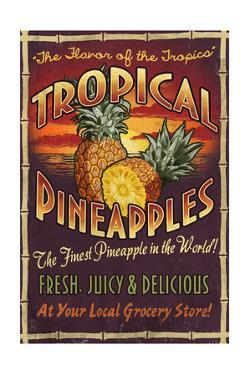 Pineapple - Vintage Sign by Lantern Press