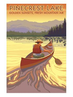 Pinecrest Lake, California - Canoe Scene by Lantern Press