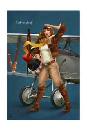 Pinup Girl Aviator - Ready for Take Off! by Lantern Press