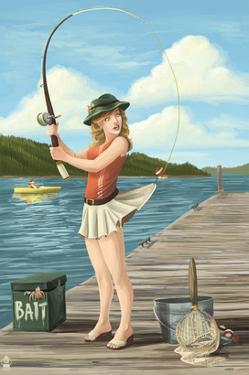 Pinup Girl Fishing on Lake by Lantern Press