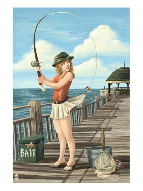 Pinup Girl Fishing on Ocean by Lantern Press