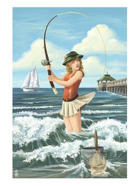 Pinup Girl Surf Fishing by Lantern Press