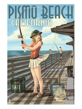 Pismo Beach, California - Fishing Pinup Girl by Lantern Press