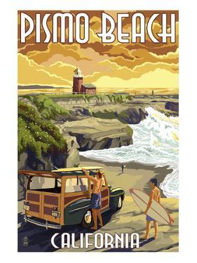 Pismo Beach, California - Woody and Lighthouse by Lantern Press
