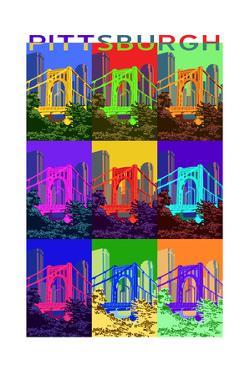 Pittsburgh, Pennsylvania - 10th Street Bridge Pop Art by Lantern Press
