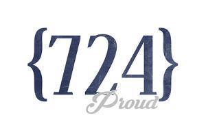 Pittsburgh, Pennsylvania - 724 Area Code (Blue) by Lantern Press