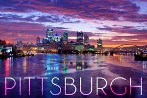 Pittsburgh, Pennsylvania - City Lights at Night by Lantern Press